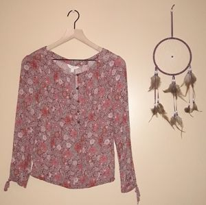 Lucky Brand Floral Button Peasant Top Tie Sleeves